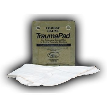 "QuikClot Combat Gauze Trauma Pad (12"" x 12"", Single Wrap, Case of 50)"