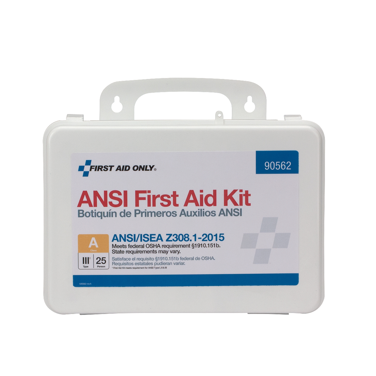 25 Person First Aid Kit, ANSI A Class III, Plastic Case