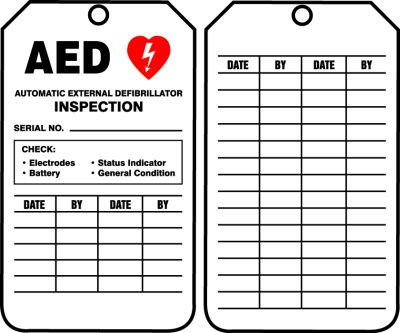 Aed Inspection Tags Aedtg5 Made By Cpr Savers And