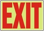 Exit Sign (Red on Lumi-Glow Plastic)