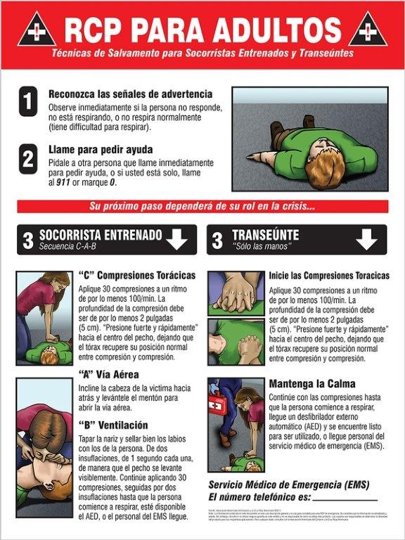 Safety Sign Cpr Adult Instructions Spanish