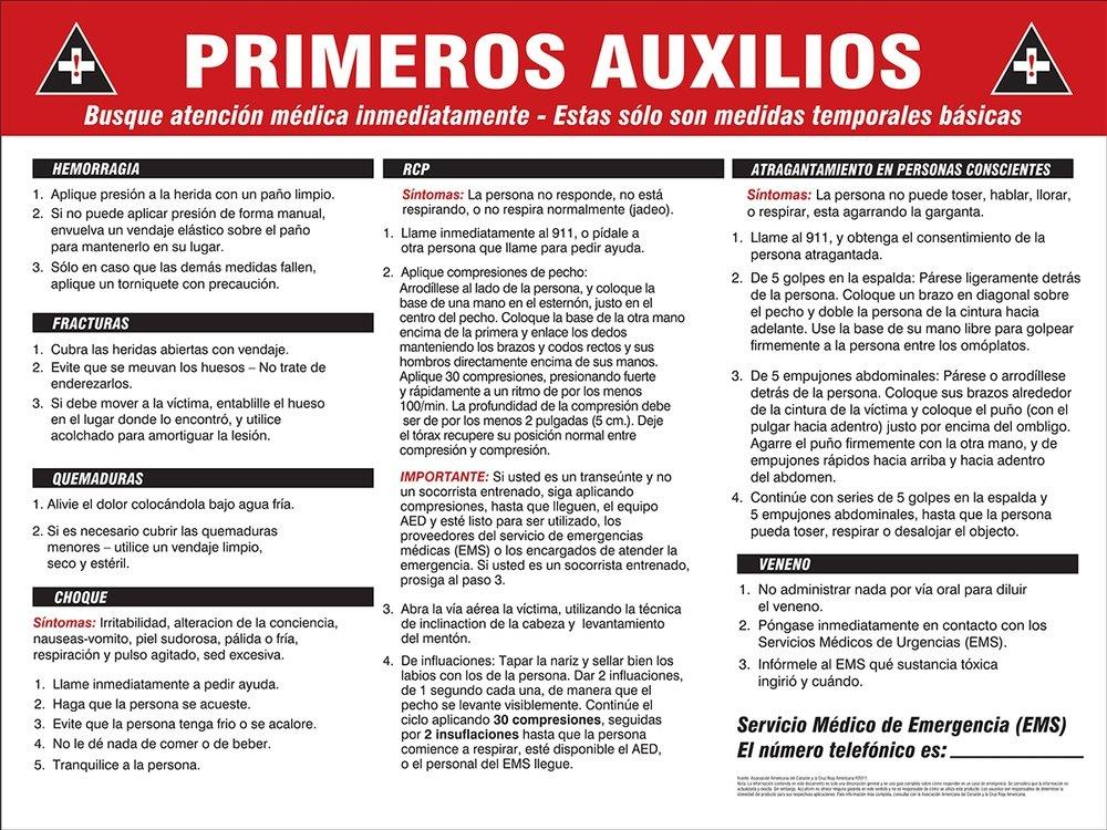image regarding Cpr Posters Free Printable known as Crisis Very first Help Poster inside Spanish