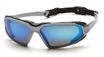HIGHLANDER - Ice Blue Mirror Anti-Fog Lens with Silver/Black Frame