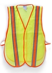 Safety Vest - Orange Nylon Mesh with  High Reflective Yellow Stripe