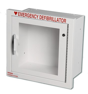 "Fully Recessed AED Cabinet (11"" x 11.5"" x 7"") - Optional Alarm + Strobe"