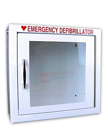 "Surface Mount AED Cabinet (17.5"" x 17.5"" x 7"") - Optional Alarm + Strobe"