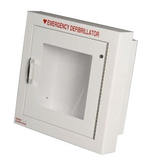 "Semi-Recessed AED Cabinet (14"" x 14"" x 7"") - Optional Alarm + Strobe"
