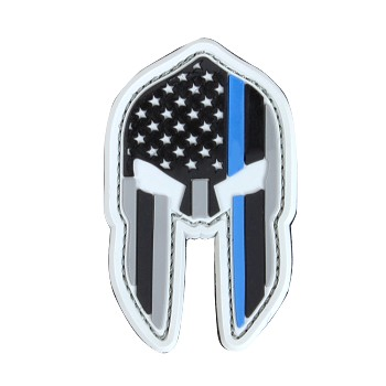 PVC Thin Blue Line Spartan Helmet Patches (6PC/PACK)
