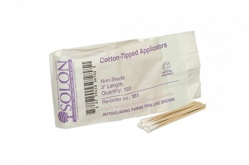 "Cotton-Tipped Applicator (3"", Non-Sterile) - 100 per Package"