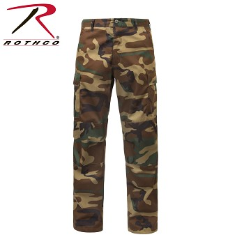Relaxed Fit Zipper Fly Woodland Camouflage Fatigue Pants