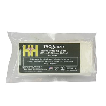 "H&H TACgauze Rolled Wrapping Gauze, US Made/Berry Compliant, 4.5"" x 120"""