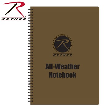 "Rothco 8.5"" X 11"" All Weather/Waterproof Notebook- Coyote Brown"