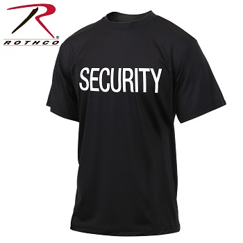 Black 2-Sided Quick Dry Performance 'SECURITY' Print T-Shirt