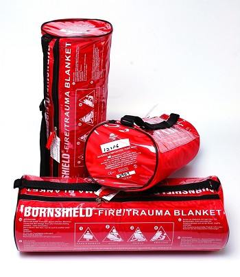 "Fire Trauma Blanket 48"" x 64"" in Barrell Bag with wall mount"