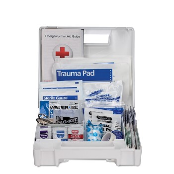 25 Person First Aid Kit, ANSI A, Plastic Case with Dividers