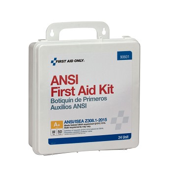 24 Unit First Aid Kit, ANSI A+,  Plastic Case