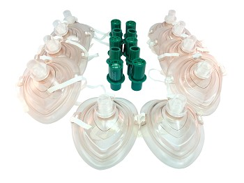 Set of 10 CPR Training Masks and Valves