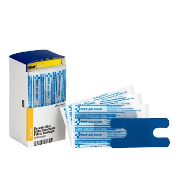 Knuckle Visible Blue Metal Detectable Bandage - 20 Bandages