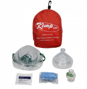 KEMP ADULT AND CHILD COMBO CPR MASK IN RED NYLON POUCH