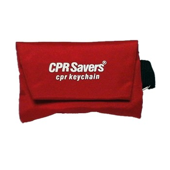 CPR Faceshield/One-Way Valve in Nylon Pouch/Key chain (RED)