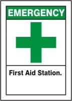 Plastic Emergency First Aid Station Sign