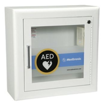 "AED Wall Cabinet with Alarm - Recessed, Square Edges, 1.5"" return (Fire Rated)"