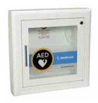 "AED Wall Cabinet with Alarm - Semi-Recessed, Rolled Edges, 3"" return"