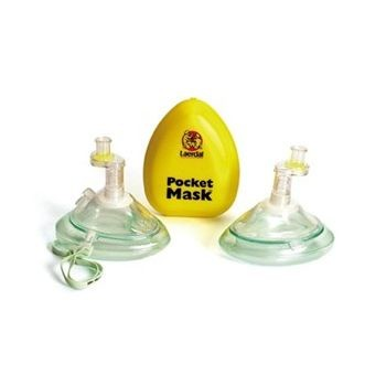 Laerdal Pocket Mask with Oxygen Inlet and Head Strap with Gloves and Wipe in Yellow Hard Case