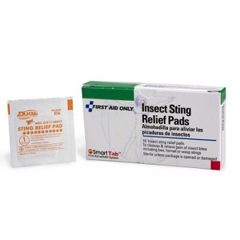 "Insect Sting Relief Pad (1 1/4"" x 2 5/8"") - 10 per Single Unit Box"