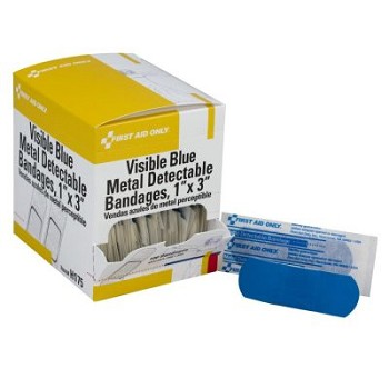 "Blue, Metal Detectable Woven Bandage (1"" x 3"")"