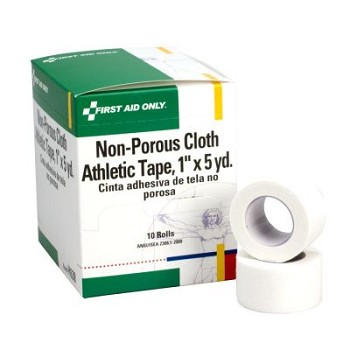 "Non-Porous Cloth Athletic Tape Roll (1"" x 5 yds)  10/box"