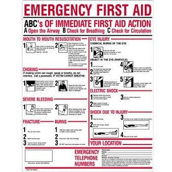"ABC's of Emergency First Aid Sign (24"" x 19"", Plastic)"